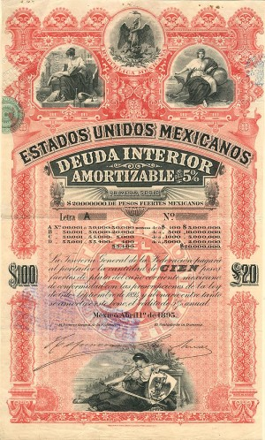 """Pink Lady or Red Diamond"" Estados Unidos Mexicanos £20/100 Pesos"