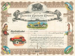 Pioneer Gasoline Company - Gorgeous Multicolored Stock Certificate