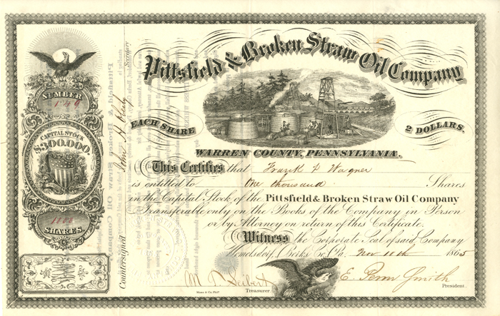 Pittsfield & Broken Straw Oil Company  - Stock Certificate