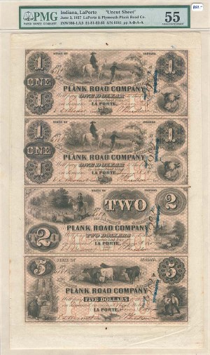 LaPorte & Plymouth Plank Road Co. Uncut Obsolete Sheet - Broken Bank Notes - PMG Graded - SOLD