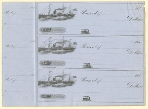 Uncut Sheet of 3 Unissued Checks- SOLD