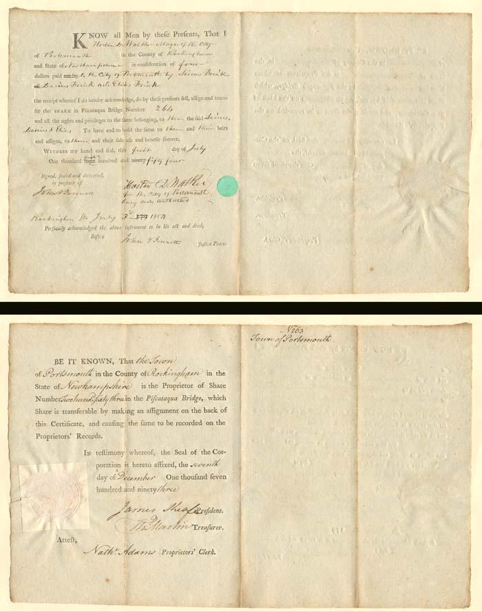 1793 Piscataqua Bridge of Portsmouth, New Hampshire - Stock Certificate