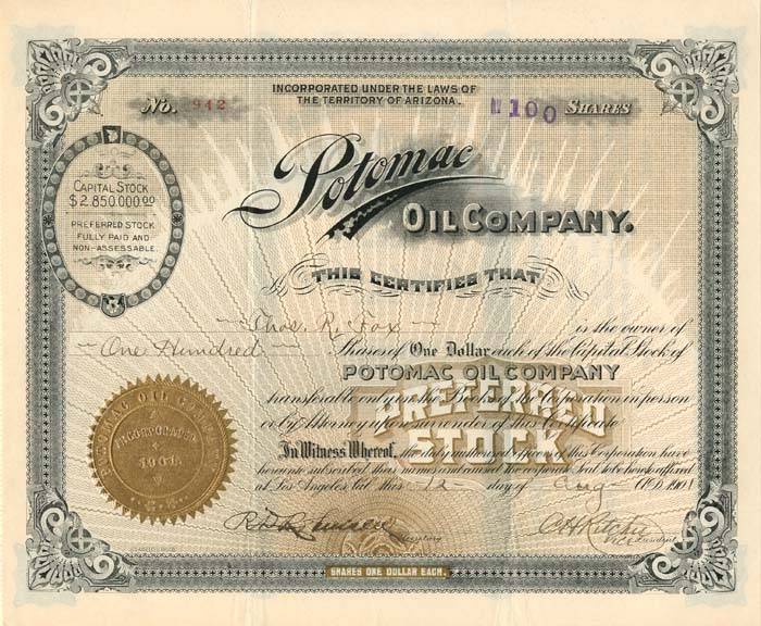 Potomac Oil Company - Stock Certificate