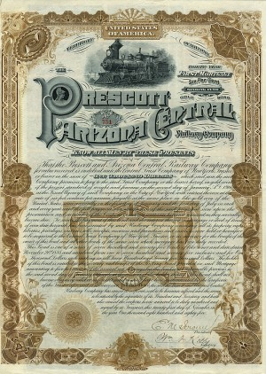 Prescott and Arizona Central Railway Company $1000 Bond - SOLD