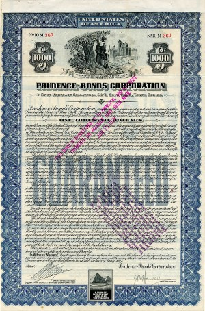 Prudence-Bonds Corporation - $1,000