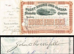 Puget Sound and Alaska Steamship Company - J. D. Rockefeller - SOLD