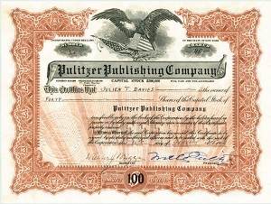 Walter Pulitzer - Pulitzer Publishing Co. - Stock Certificate - SOLD