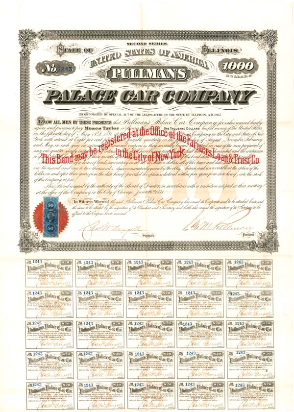 George M. Pullman autographed Pullman's Palace Car Company - SOLD