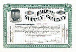 Isaac L. Rice - Railway Supply Co - Stock Certificate