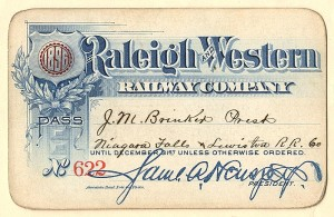 Raleigh and Western Railway Company Pass - SOLD