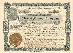 Ranch Mining Company - Stock Certificate