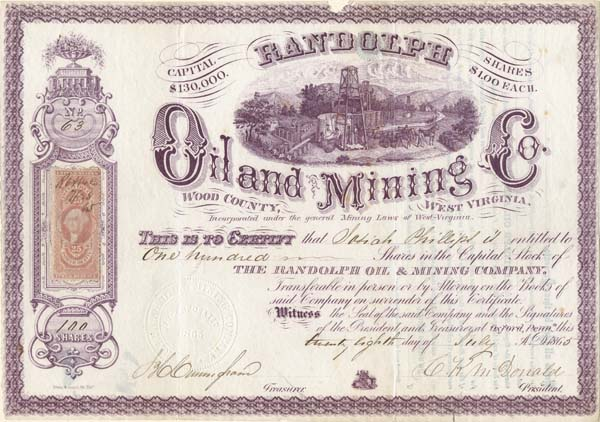Randolph Oil and Mining Co. - Stock Certificate