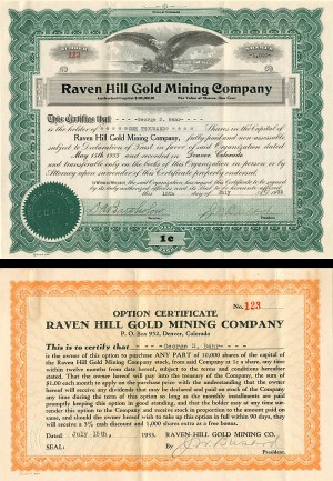 Raven Hill Gold Mining Company - Stock and Option Certificate