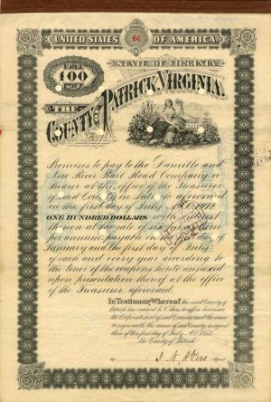 Danville and New River Rail Road Company - County of Patrick, Virginia - Bond - SOLD