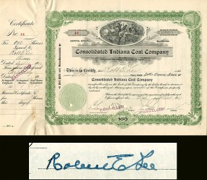 Consolidated Indiana Coal Company signed by a Robt E. Lee (possibly a relative)