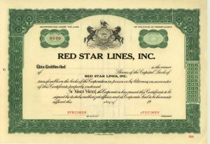 Red Star Lines, Inc - Specimen