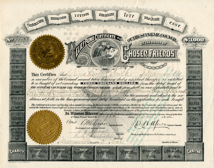 Relief Fund Certificate of the Supreme Council of the Order of Chosen Friends