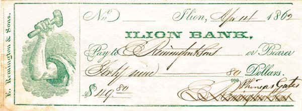 Eliphalet Remington III Signed Check