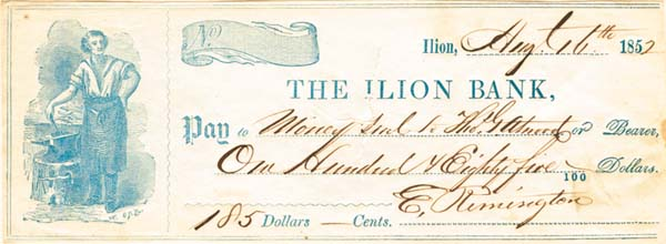Eliphalet Remington II or Jr. - signed Check - Founder of Remington and Sons