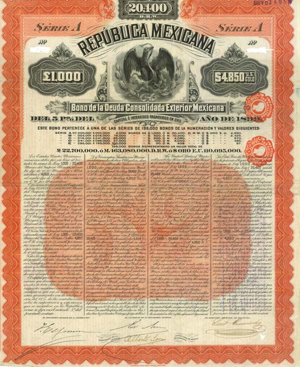 """Mexicana Orange"" Republica Mexicana 1899 Series A - SOLD"