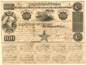 Republic of Texas - $100 Bond - SOLD