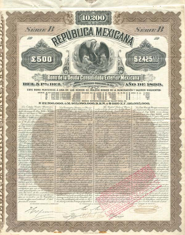 """Mexicana Brown"" Republica Mexicana, Deuda Consolidada Exterior Del 5% de 1899, £500, $2,425 US GOLD"