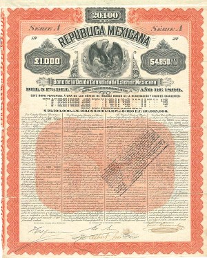 """Mexicana Orange"" Republica Mexicana 1899 - SOLD"