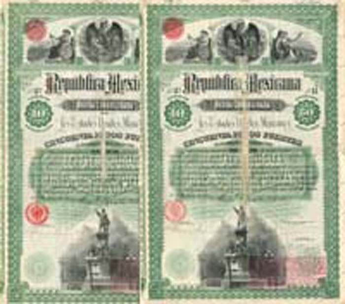 """""""Christopher Columbus"""" 1885 - Republica Mexicana - Price is for 1 (ONE) Bond"""