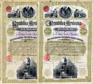 """Christopher Columbus"" 1885 - Republica Mexicana - Price is for 1 (ONE) Bond"