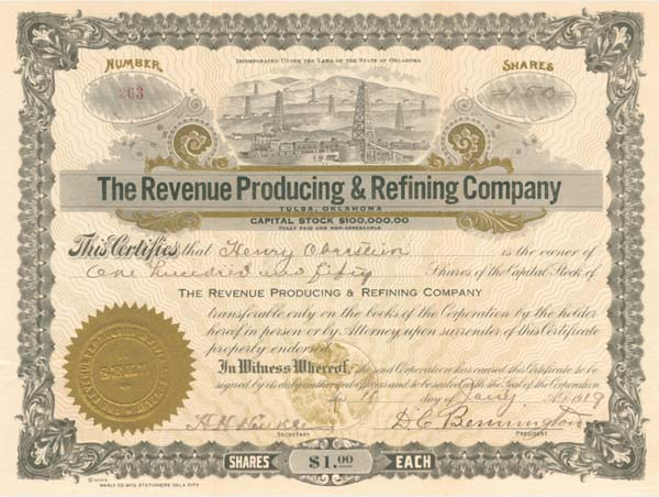 Revenue Producing & Refining Co - Stock Certificate - SOLD