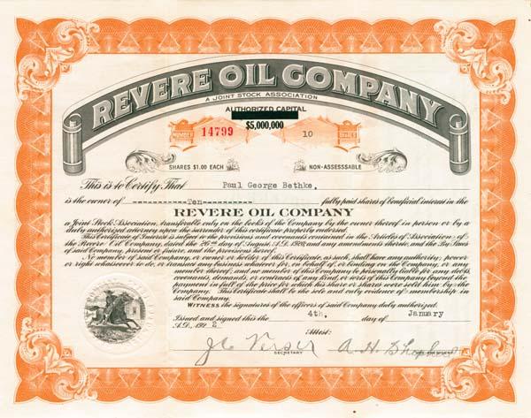 Revere Oil Company - Stock Certificate