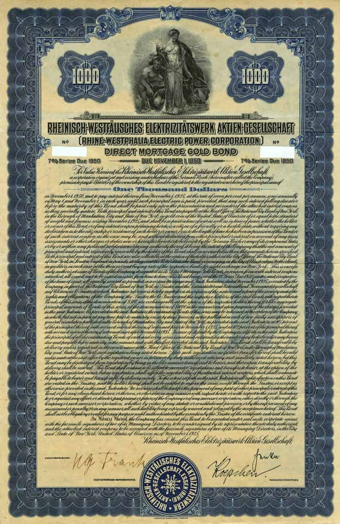 Rhine-Westphalia Electric Power Corp. 7% Uncancelled $1000 Bond of 1925