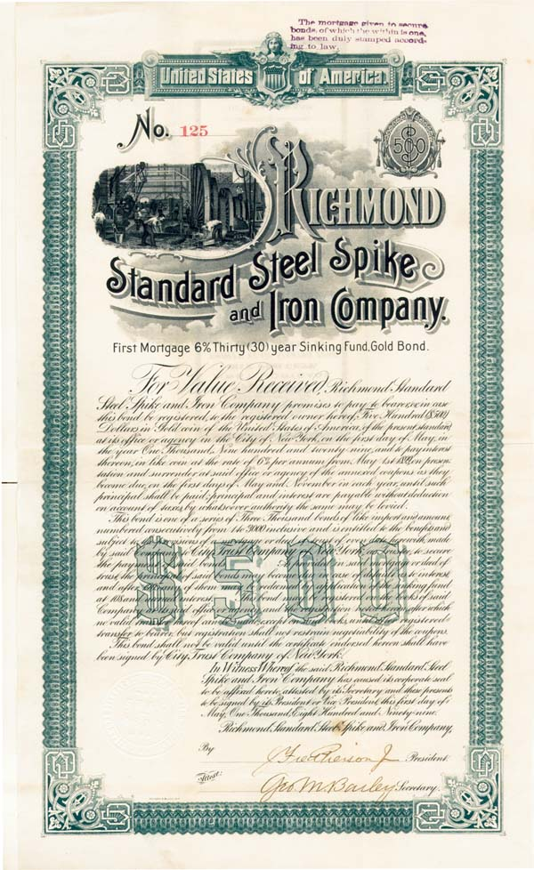 Richmond Standard Steel Spike & Iron Company - Bond