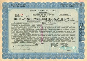 Ridge Avenue Passenger Railway Company - SOLD
