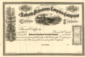 Roberts Petroleum Torpedo Co. - Unissued Only - Stock Certificate