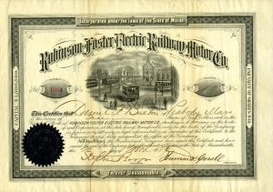 Robinson Foster Electric Railway Motor Co - Only 2 Known
