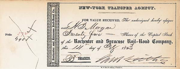 Jacob Little - Rochester & Syracuse Railroad - Stock Certificate