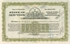 State of New York issued to (not signed) by Wm. A. Rockefeller