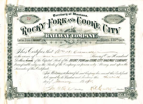 Rocky Fork and Cooke City Railway Company - Stock Certificate