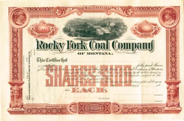 Rocky Fork Coal Company of Montana - Stock Certificate