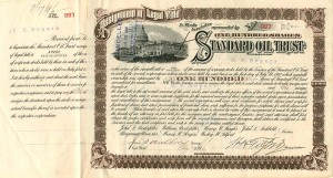 Standard Oil Trust issued to and signed by H.H. Rogers