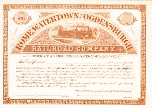 Rome, Watertown & Ogdensburgh Railroad - Bond