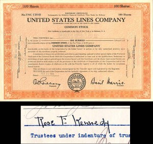 United States Lines Company signed by Rose F. Kennedy for Trust of Joseph P. Kennedy