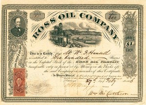 Ross Oil Company - Stock Certificate - SOLD