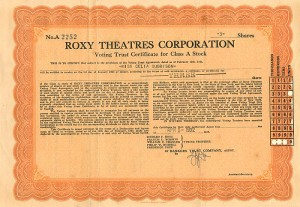 Roxy Theatres Corporation - SOLD