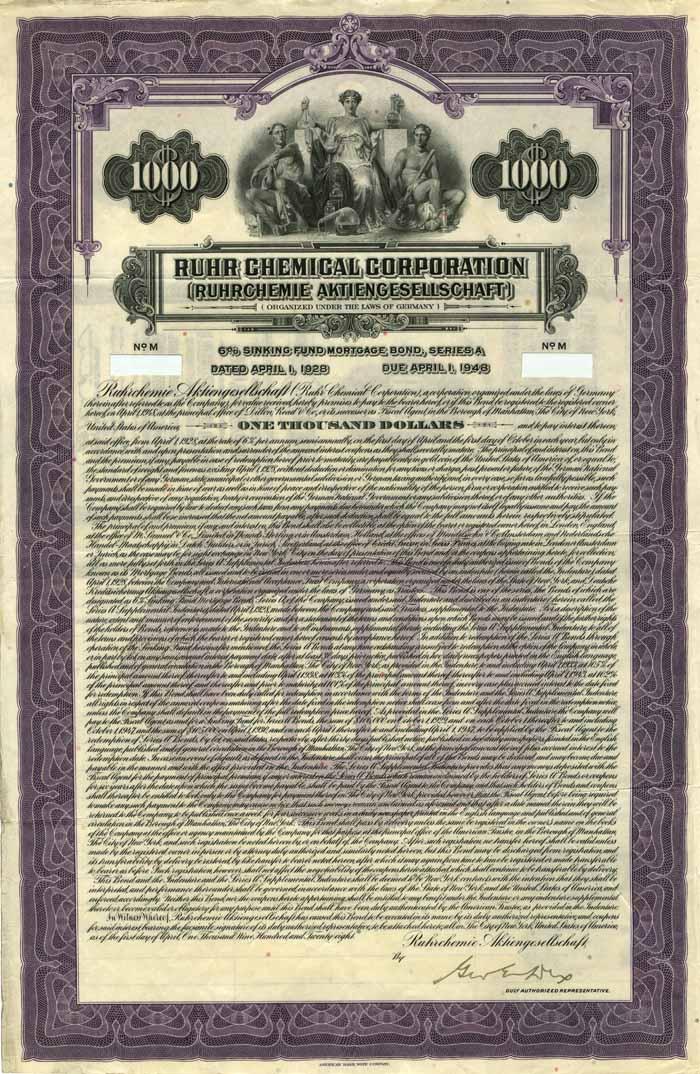 Ruhr Chemical Corporation 6% Uncancelled $1000 Bond of 1928