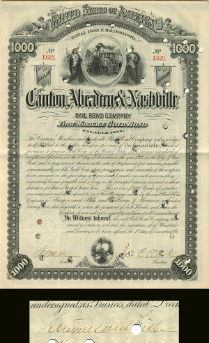 Canton, Aberdeen & Nashville Railroad Company signed by Styvesant Fish