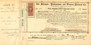 Delaware, Lackawanna and Western Railroad Co. signed by Samuel Sloan - SOLD
