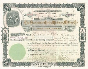 Sacramento Gold Mining and Milling Co. - SOLD