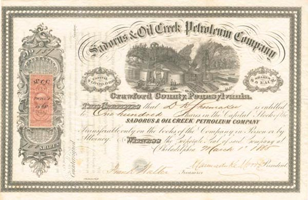 Sadorus & Oil Creek Petroleum Company - Stock Certificate